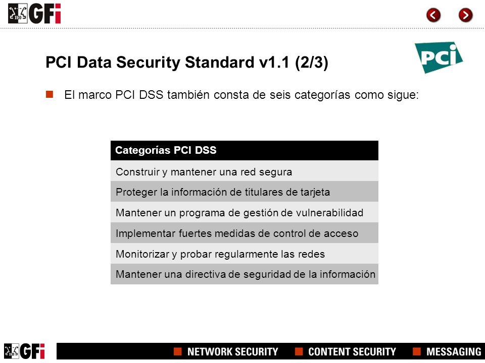 PCI Data Security Standard v1.1 (2/3) Categorías PCI DSS El marco PCI DSS también consta de seis categorías como sigue: Construir y mantener una red s