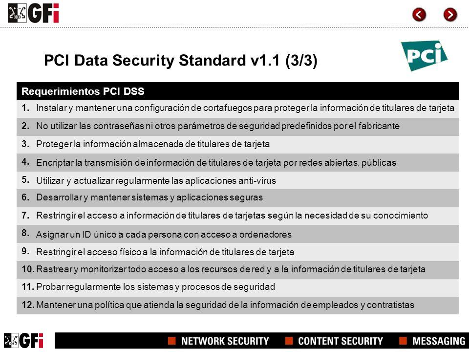 PCI Data Security Standard v1.1 (3/3) Requerimientos PCI DSS 1. 2. 3. 4. 5. 6. 7. 8. 9. 10. 11. 12. Instalar y mantener una configuración de cortafueg