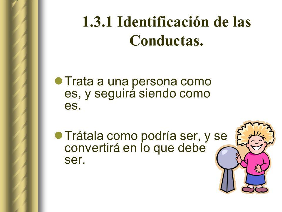 1.3.1 Identificación de las Conductas.Trata a una persona como es, y seguirá siendo como es.
