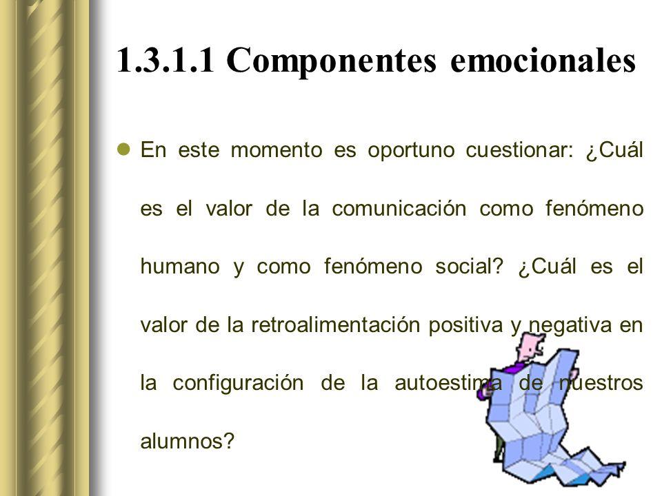 1.3.1.1 Componentes emocionales En este momento es oportuno cuestionar: ¿Cuál es el valor de la comunicación como fenómeno humano y como fenómeno social.