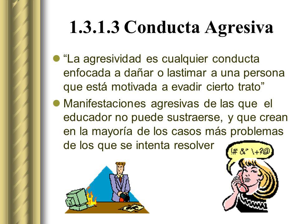 1.3.1.3 Conducta Agresiva La agresividad es cualquier conducta enfocada a dañar o lastimar a una persona que está motivada a evadir cierto trato Manifestaciones agresivas de las que el educador no puede sustraerse, y que crean en la mayoría de los casos más problemas de los que se intenta resolver