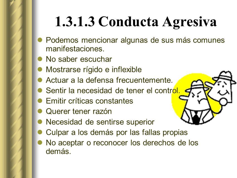 1.3.1.3 Conducta Agresiva Podemos mencionar algunas de sus más comunes manifestaciones.
