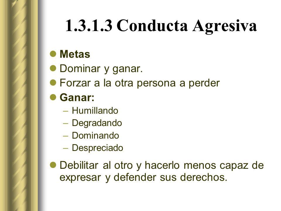 1.3.1.3 Conducta Agresiva Metas Dominar y ganar.