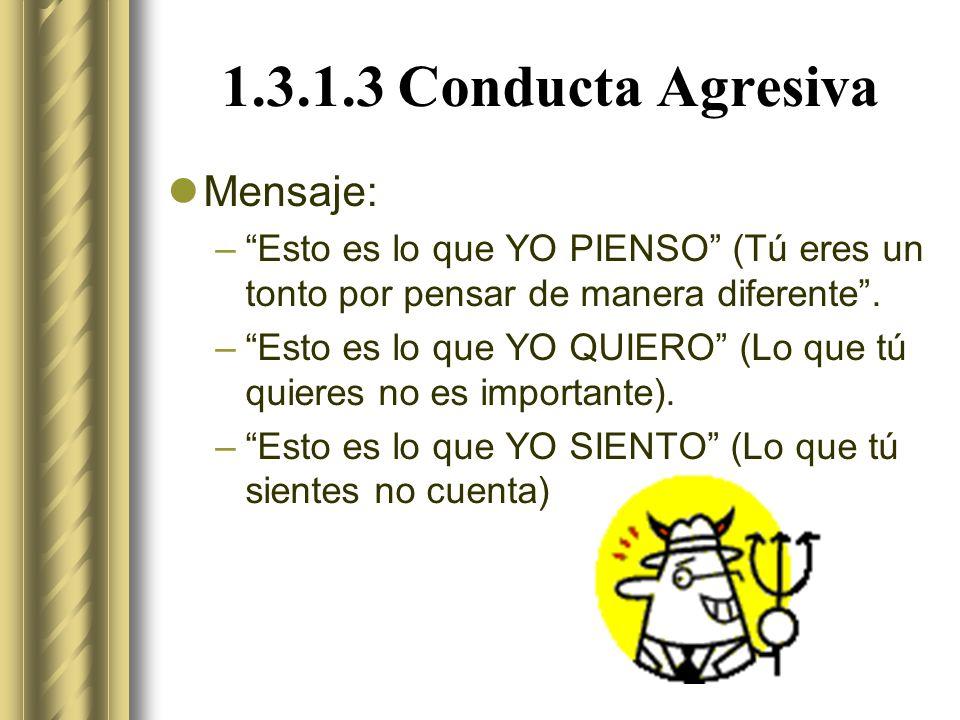 1.3.1.3 Conducta Agresiva Mensaje: –Esto es lo que YO PIENSO (Tú eres un tonto por pensar de manera diferente.