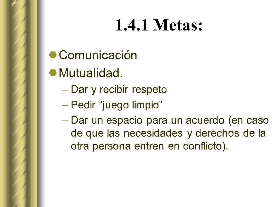 1.4.1 Metas: Comunicación Mutualidad.