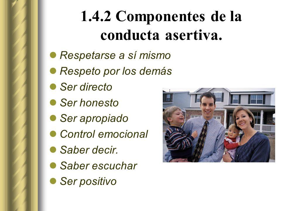 1.4.2 Componentes de la conducta asertiva.