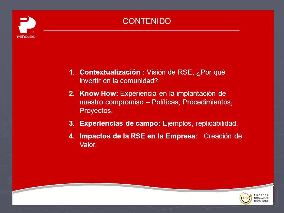 CONTENIDO 1.Contextualización : Visión de RSE, ¿Por qué invertir en la comunidad?.