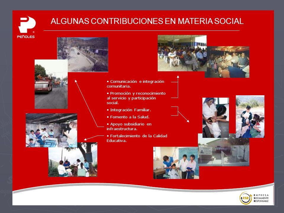 ALGUNAS CONTRIBUCIONES EN MATERIA SOCIAL Comunicación e integración comunitaria.