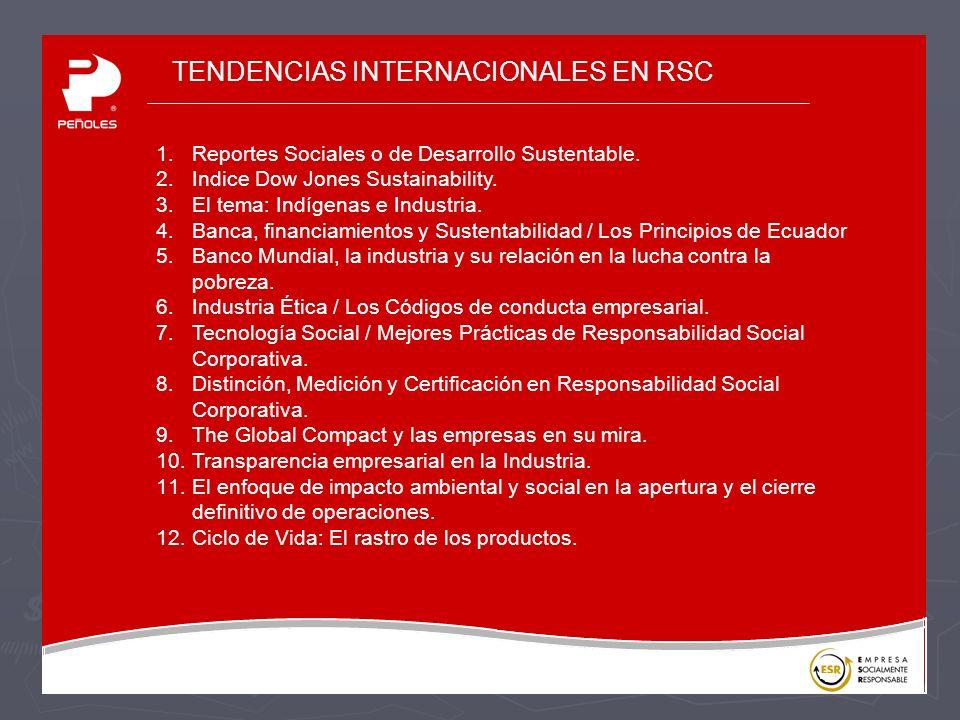 TENDENCIAS INTERNACIONALES EN RSC 1.Reportes Sociales o de Desarrollo Sustentable.