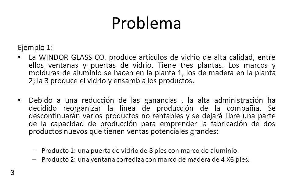 3 Problema Ejemplo 1: La WINDOR GLASS CO. produce artículos de vidrio de alta calidad, entre ellos ventanas y puertas de vidrio. Tiene tres plantas. L