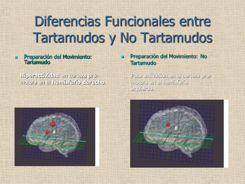 Diferencias Funcionales entre Tartamudos y No Tartamudos Preparación del Movimiento: Tartamudo Preparación del Movimiento: Tartamudo Hiperactividad en corteza pre- motora en el hemisferio derecho.