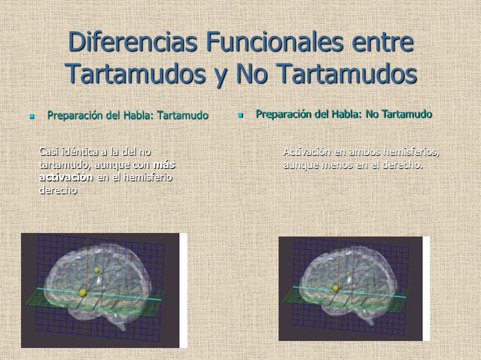 Diferencias Funcionales entre Tartamudos y No Tartamudos Preparación del Habla: Tartamudo Preparación del Habla: Tartamudo Preparación del Habla: No Tartamudo Preparación del Habla: No Tartamudo Casi idéntica a la del no tartamudo, aunque con más activación en el hemisferio derecho Activación en ambos hemisferios, aunque menos en el derecho.