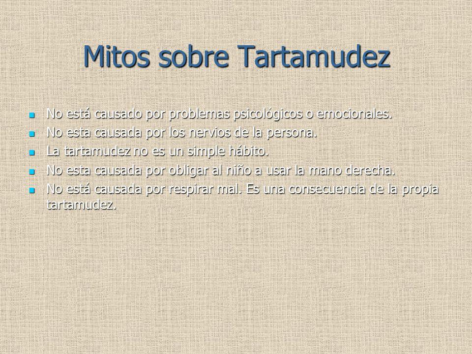 Mitos sobre Tartamudez No está causado por problemas psicológicos o emocionales. No está causado por problemas psicológicos o emocionales. No esta cau