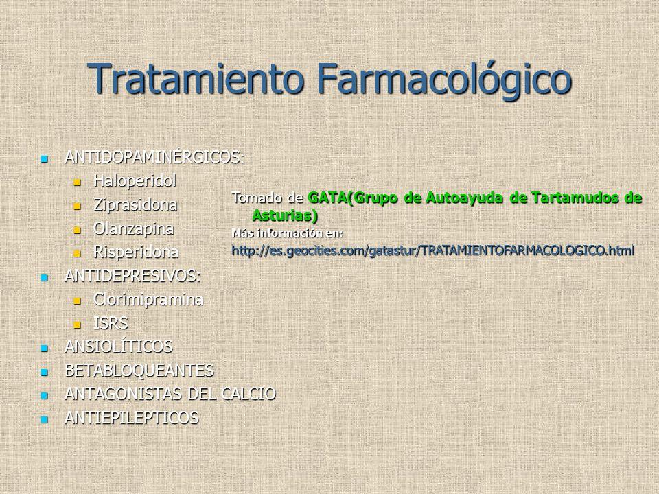 Tratamiento Farmacológico ANTIDOPAMINÉRGICOS: ANTIDOPAMINÉRGICOS: Haloperidol Haloperidol Ziprasidona Ziprasidona Olanzapina Olanzapina Risperidona Risperidona ANTIDEPRESIVOS: ANTIDEPRESIVOS: Clorimipramina Clorimipramina ISRS ISRS ANSIOLÍTICOS ANSIOLÍTICOS BETABLOQUEANTES BETABLOQUEANTES ANTAGONISTAS DEL CALCIO ANTAGONISTAS DEL CALCIO ANTIEPILEPTICOS ANTIEPILEPTICOS Tomado de GATA(Grupo de Autoayuda de Tartamudos de Asturias) Más información en: http://es.geocities.com/gatastur/TRATAMIENTOFARMACOLOGICO.html