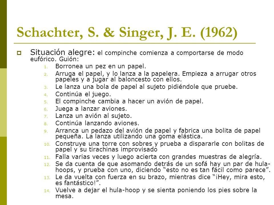 Schachter, S. & Singer, J. E. (1962) Situación alegre: el compinche comienza a comportarse de modo eufórico. Guión: 1. Borronea un pez en un papel. 2.