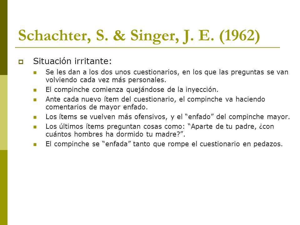 Schachter, S. & Singer, J. E. (1962) Situación irritante: Se les dan a los dos unos cuestionarios, en los que las preguntas se van volviendo cada vez