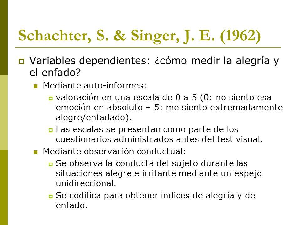Schachter, S. & Singer, J. E. (1962) Variables dependientes: ¿cómo medir la alegría y el enfado? Mediante auto-informes: valoración en una escala de 0