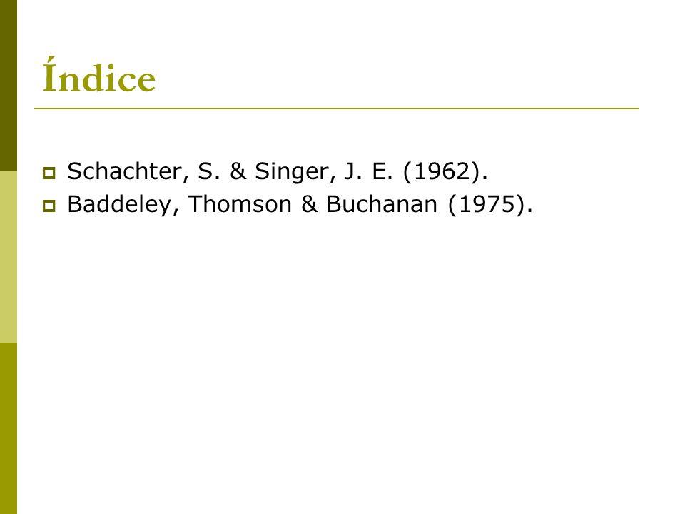Índice Schachter, S. & Singer, J. E. (1962). Baddeley, Thomson & Buchanan (1975).