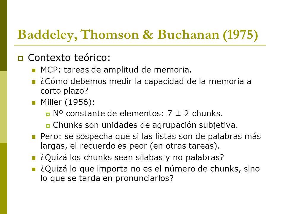 Baddeley, Thomson & Buchanan (1975) Contexto teórico: MCP: tareas de amplitud de memoria. ¿Cómo debemos medir la capacidad de la memoria a corto plazo