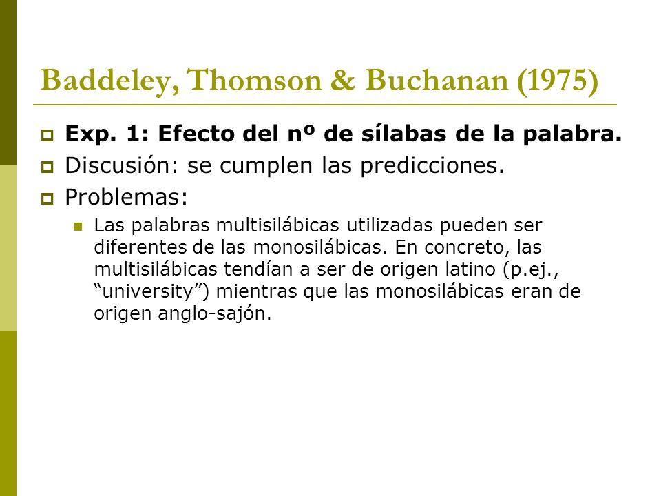 Baddeley, Thomson & Buchanan (1975) Exp. 1: Efecto del nº de sílabas de la palabra. Discusión: se cumplen las predicciones. Problemas: Las palabras mu