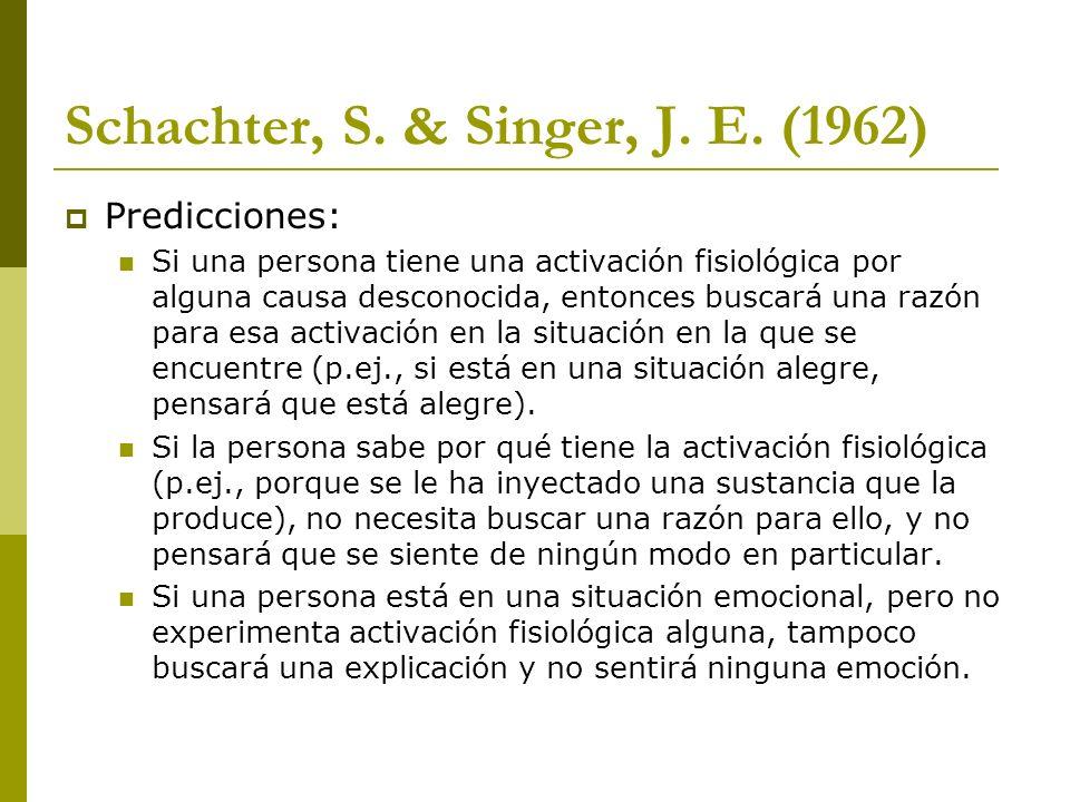 Schachter, S. & Singer, J. E. (1962) Predicciones: Si una persona tiene una activación fisiológica por alguna causa desconocida, entonces buscará una