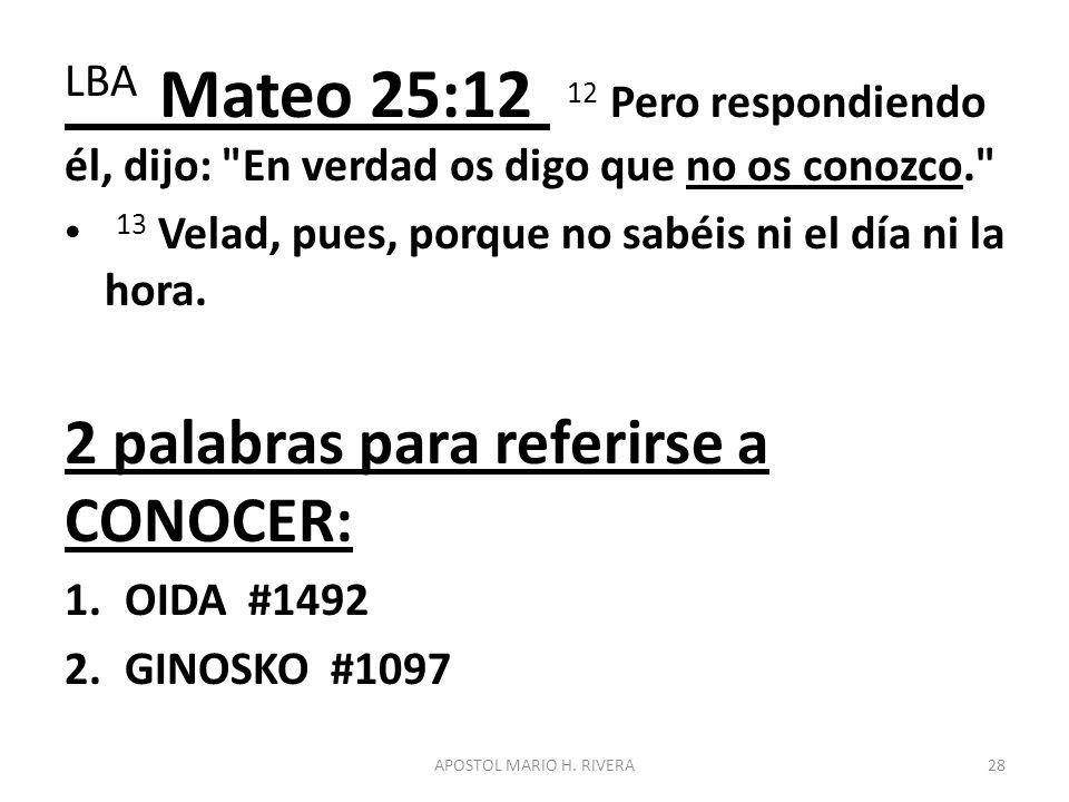 LBA Mateo 25:12 12 Pero respondiendo él, dijo: