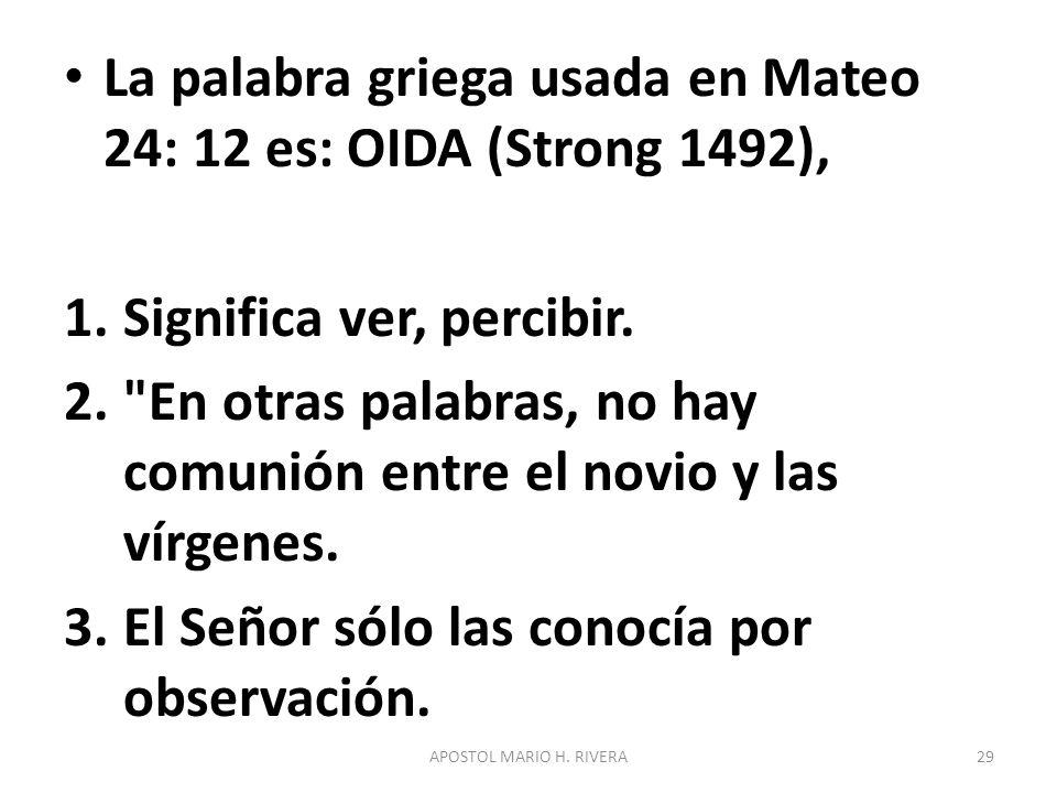 La palabra griega usada en Mateo 24: 12 es: OIDA (Strong 1492), 1.Significa ver, percibir. 2.