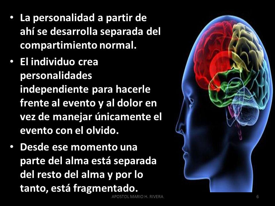La personalidad a partir de ahí se desarrolla separada del compartimiento normal. El individuo crea personalidades independiente para hacerle frente a