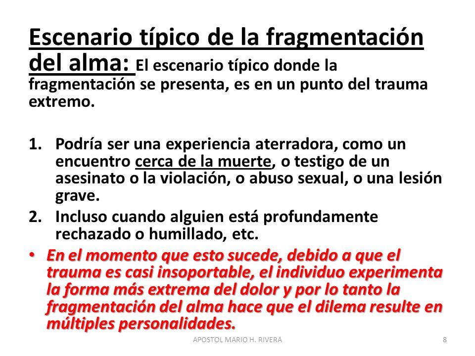 Escenario típico de la fragmentación del alma: El escenario típico donde la fragmentación se presenta, es en un punto del trauma extremo. 1.Podría ser