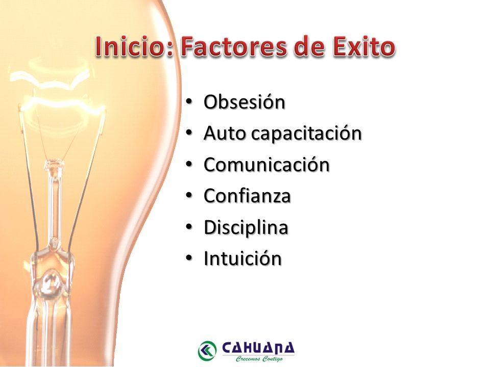 Obsesión Obsesión Auto capacitación Auto capacitación Comunicación Comunicación Confianza Confianza Disciplina Disciplina Intuición Intuición