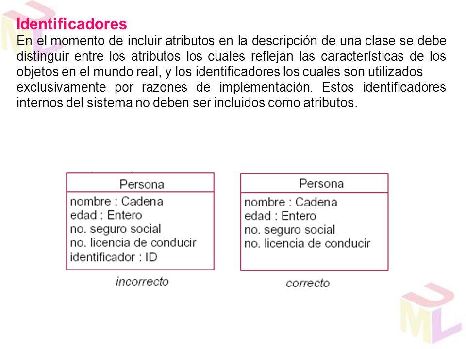 Identificadores En el momento de incluir atributos en la descripción de una clase se debe distinguir entre los atributos los cuales reflejan las carac