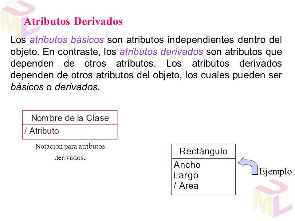 Los atributos básicos son atributos independientes dentro del objeto. En contraste, los atributos derivados son atributos que dependen de otros atribu