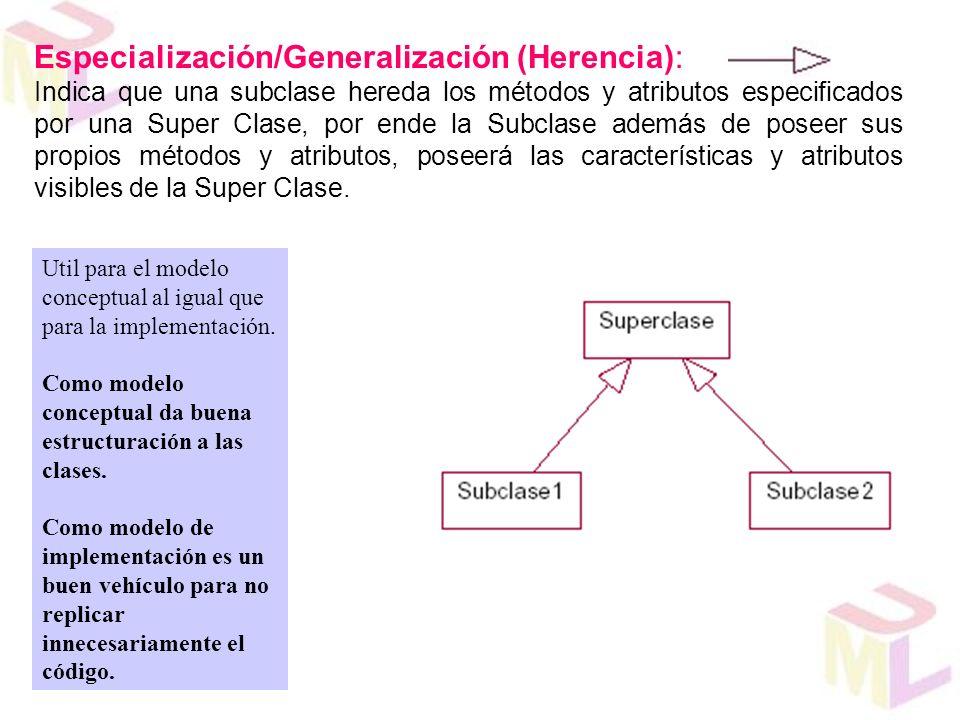 Especialización/Generalización (Herencia): Indica que una subclase hereda los métodos y atributos especificados por una Super Clase, por ende la Subcl