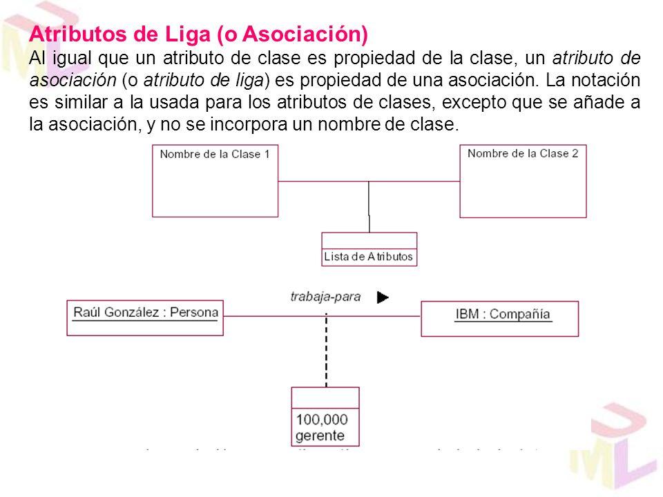 Atributos de Liga (o Asociación) Al igual que un atributo de clase es propiedad de la clase, un atributo de asociación (o atributo de liga) es propied