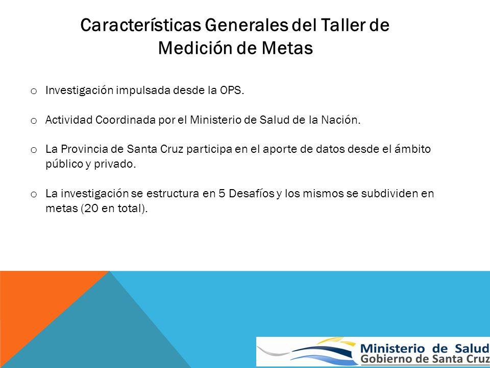 Características Generales del Taller de Medición de Metas o Investigación impulsada desde la OPS. o Actividad Coordinada por el Ministerio de Salud de