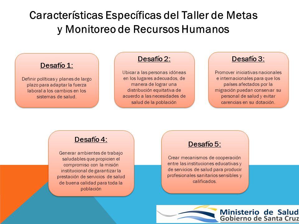 Características Específicas del Taller de Metas y Monitoreo de Recursos Humanos Desafío 1: Definir políticas y planes de largo plazo para adaptar la f