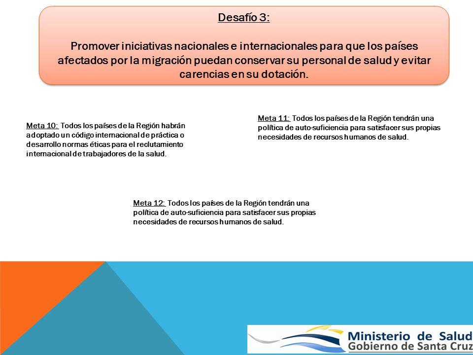 Desafío 3: Promover iniciativas nacionales e internacionales para que los países afectados por la migración puedan conservar su personal de salud y ev