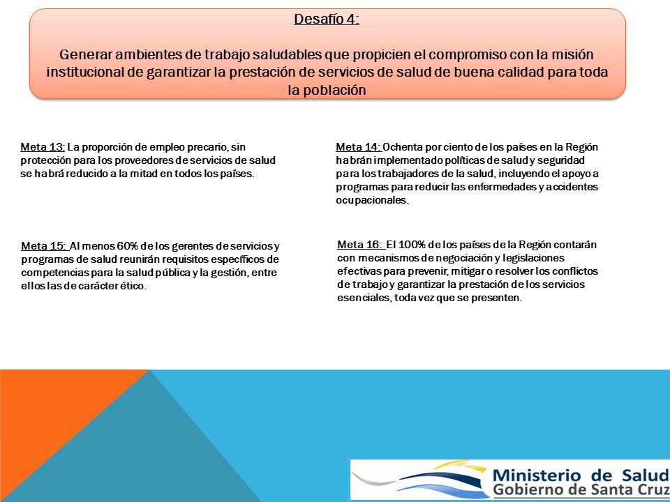 Desafío 4: Generar ambientes de trabajo saludables que propicien el compromiso con la misión institucional de garantizar la prestación de servicios de