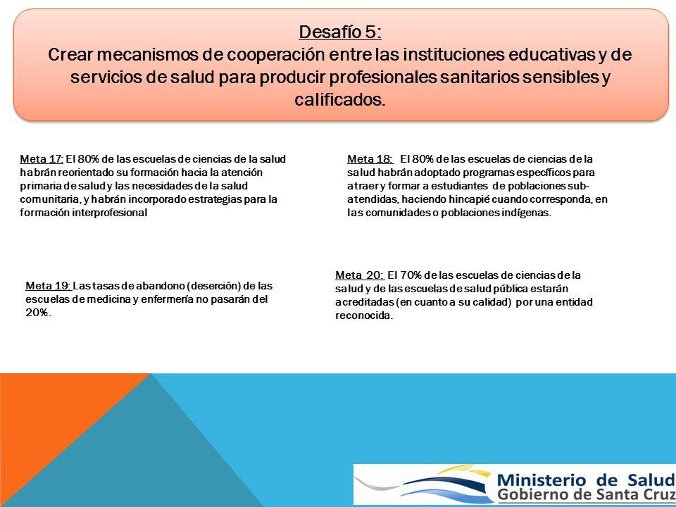 Desafío 5: Crear mecanismos de cooperación entre las instituciones educativas y de servicios de salud para producir profesionales sanitarios sensibles