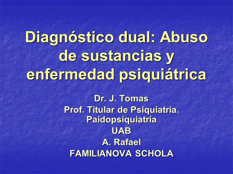Diagnóstico dual: Abuso de sustancias y enfermedad psiquiátrica Dr. J. Tomas Prof. Titular de Psiquiatría. Paidopsiquiatría UAB A. Rafael FAMILIANOVA