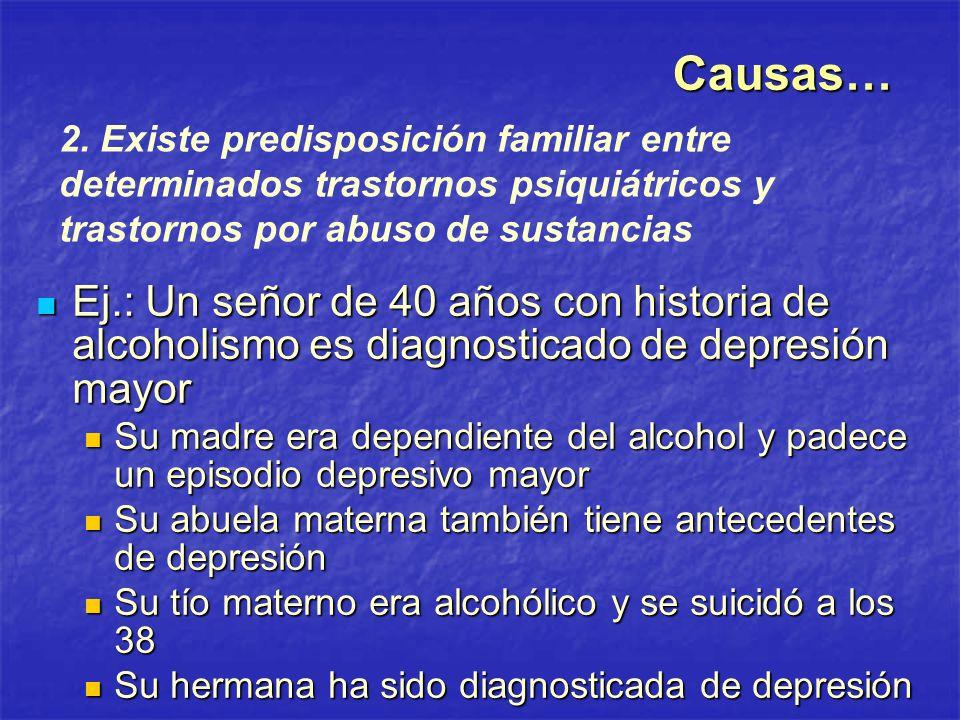 Ej.: Un señor de 40 años con historia de alcoholismo es diagnosticado de depresión mayor Ej.: Un señor de 40 años con historia de alcoholismo es diagn
