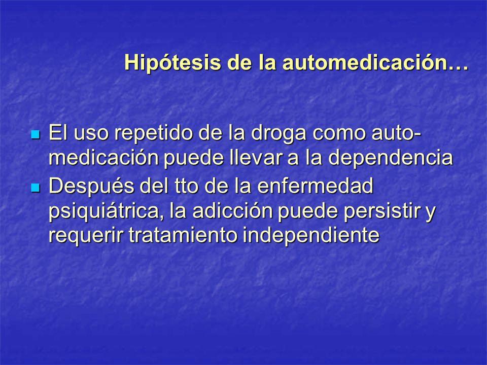 Hipótesis de la automedicación… El uso repetido de la droga como auto- medicación puede llevar a la dependencia El uso repetido de la droga como auto-