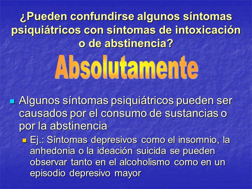 ¿Pueden confundirse algunos síntomas psiquiátricos con síntomas de intoxicación o de abstinencia? Algunos síntomas psiquiátricos pueden ser causados p