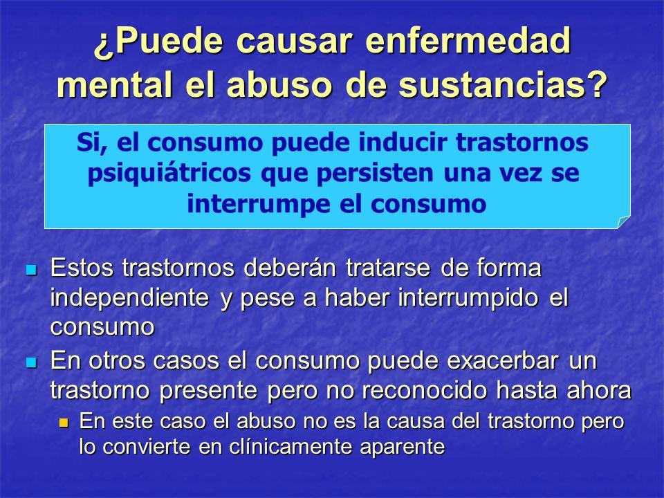 ¿Puede causar enfermedad mental el abuso de sustancias? Estos trastornos deberán tratarse de forma independiente y pese a haber interrumpido el consum