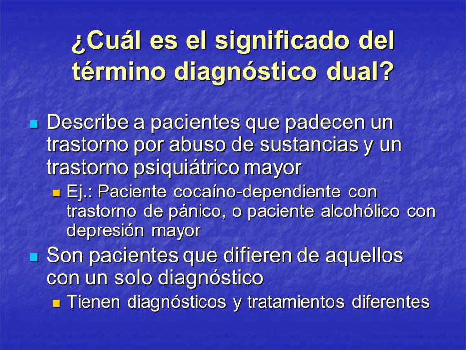 ¿Cuál es el significado del término diagnóstico dual? Describe a pacientes que padecen un trastorno por abuso de sustancias y un trastorno psiquiátric