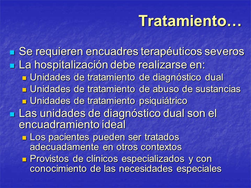 Tratamiento… Se requieren encuadres terapéuticos severos Se requieren encuadres terapéuticos severos La hospitalización debe realizarse en: La hospita
