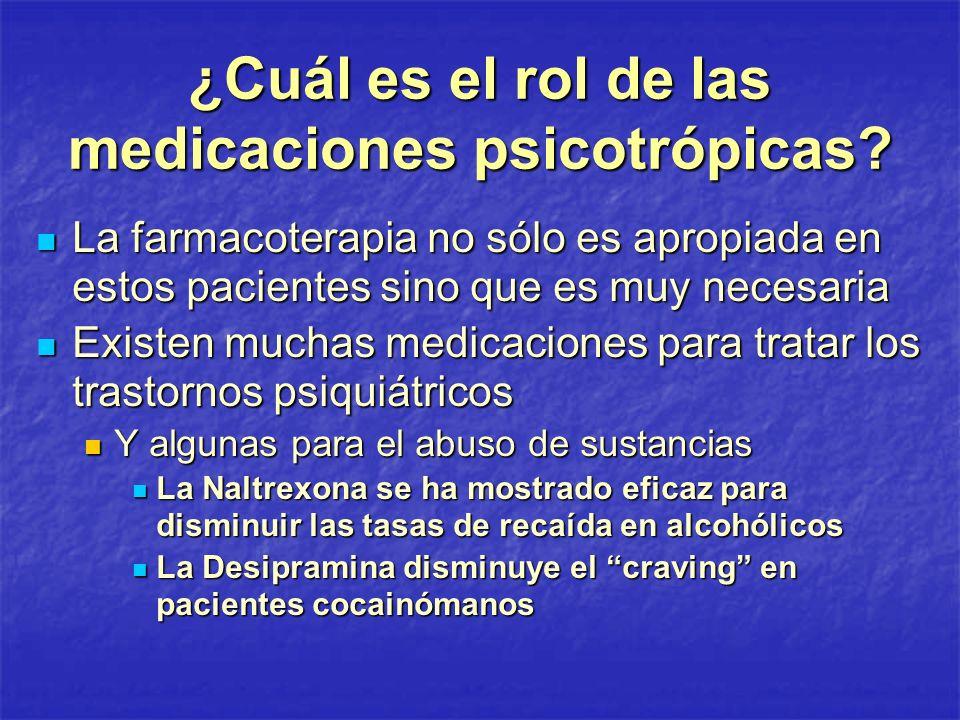 ¿Cuál es el rol de las medicaciones psicotrópicas? La farmacoterapia no sólo es apropiada en estos pacientes sino que es muy necesaria La farmacoterap