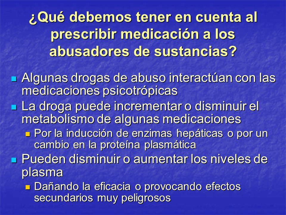 ¿Qué debemos tener en cuenta al prescribir medicación a los abusadores de sustancias? Algunas drogas de abuso interactúan con las medicaciones psicotr