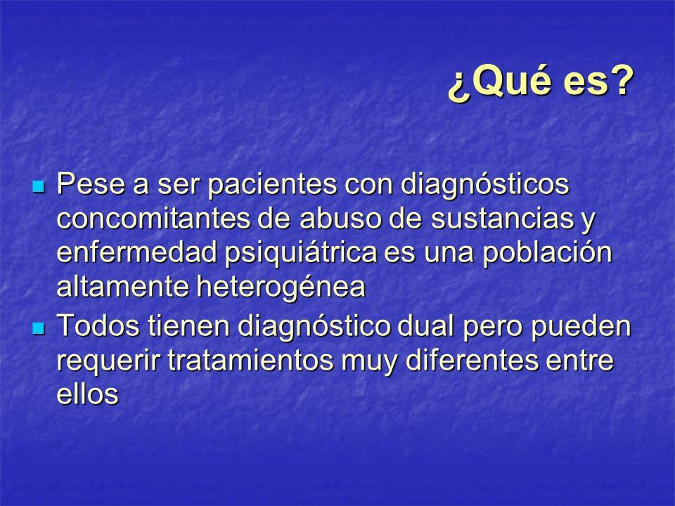 ¿Qué es? Pese a ser pacientes con diagnósticos concomitantes de abuso de sustancias y enfermedad psiquiátrica es una población altamente heterogénea P
