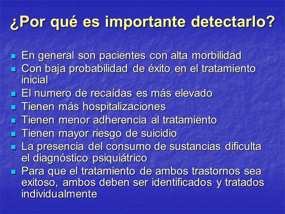 ¿Por qué es importante detectarlo? En general son pacientes con alta morbilidad En general son pacientes con alta morbilidad Con baja probabilidad de